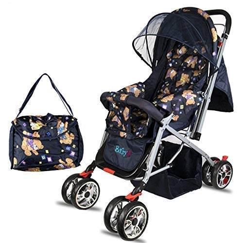 BabyGo Delight Reversible Teddy Bear Best Stroller Newborn Baby and Pram with Mosquito Net Mama Diaper Bag and Wheel Breaks (Blue)